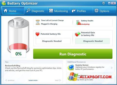 Screenshot Battery Optimizer Windows XP