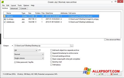 Screenshot PeaZip Windows XP