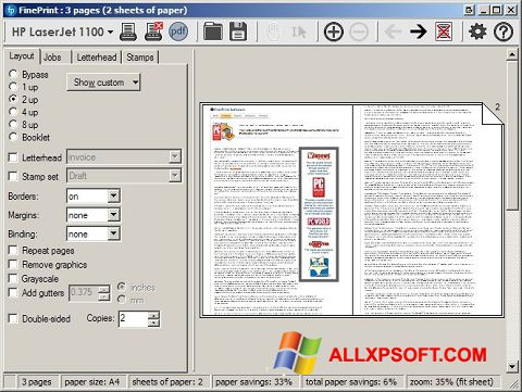 Screenshot FinePrint Windows XP