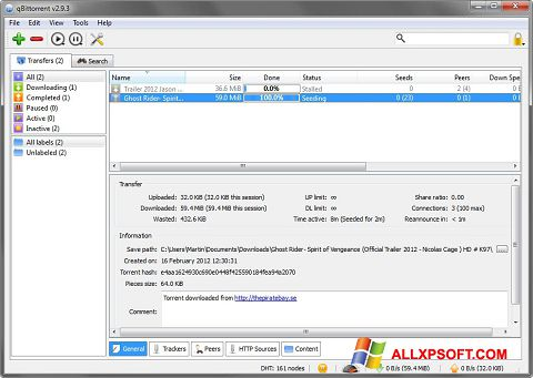 Screenshot qBittorrent Windows XP