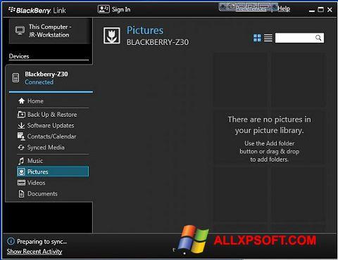Screenshot BlackBerry Link Windows XP
