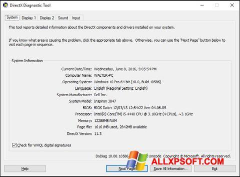 Screenshot DirectX Windows XP