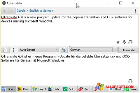 Screenshot QTranslate Windows XP