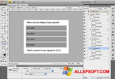 Screenshot Adobe Fireworks Windows XP