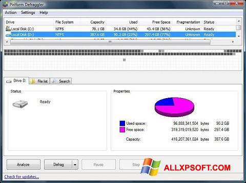 Screenshot Defraggler Windows XP