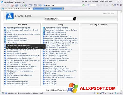 Screenshot Avant Browser Windows XP