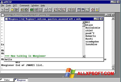 Screenshot mIRC Windows XP