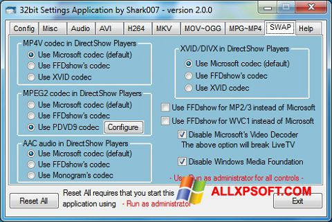 Screenshot ADVANCED Codecs Windows XP