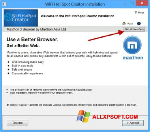 Screenshot Wi-Fi HotSpot Creator Windows XP