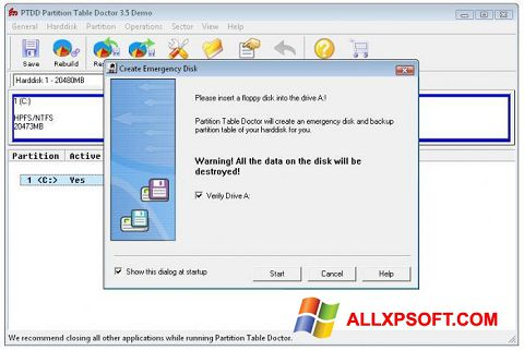 Screenshot Partition Table Doctor Windows XP