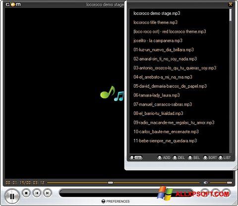 Screenshot GOM Player Windows XP