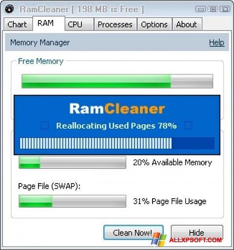 Screenshot RamCleaner Windows XP