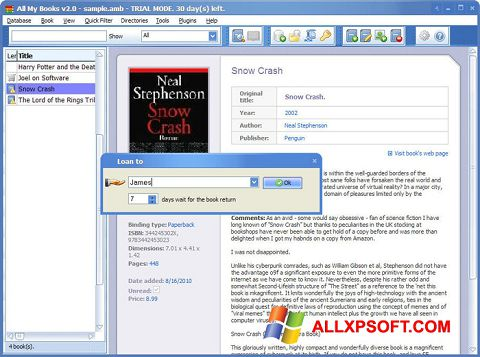 Screenshot All My Books Windows XP