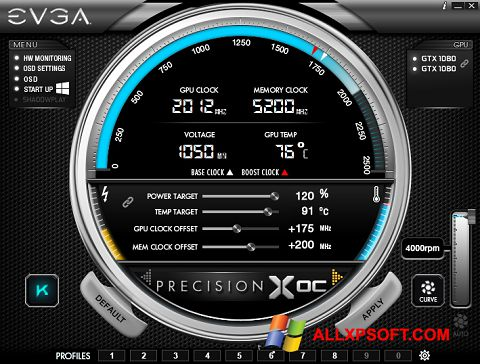 Screenshot EVGA Precision Windows XP