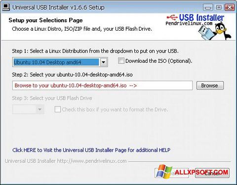 Screenshot Universal USB Installer Windows XP