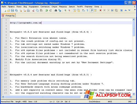 Screenshot Notepad++ Windows XP