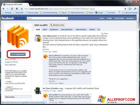 Screenshot Facebook Windows XP