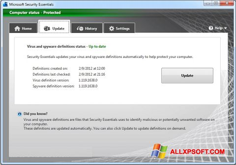 Screenshot Microsoft Security Essentials Windows XP
